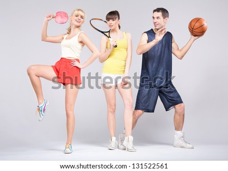 Active young sportsmen - stock photo