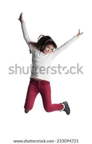 activity and happiness concept - smiling teenage girl in white blank t-shirt jumping - stock photo