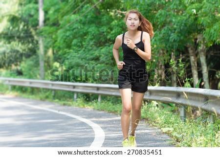 activity beauty women runing in morning - stock photo