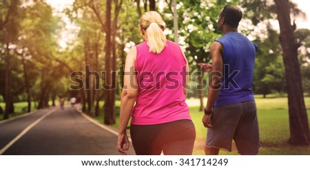 Activity Cardio Cheerful Couple Exercise Togetherness Concept, blurred - stock photo