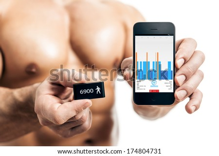 activity tracker muscular sports man - stock photo
