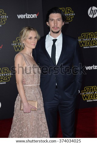 "Actor Adam Driver & wife Joanne Tucker at the world premiere of ""Star Wars: The Force Awakens"" on Hollywood Boulevard. December 14, 2015  Los Angeles, CA Picture: Paul Smith / Featureflash - stock photo"