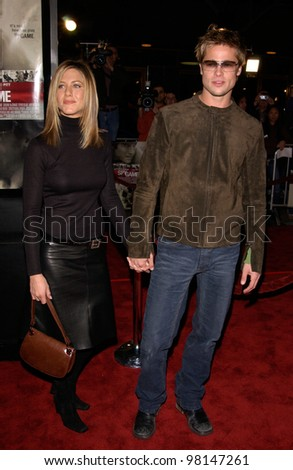 Actor BRAD PITT & actress wife JENNIFER ANISTON at the world premiere, in Los Angeles, of his new movie Spy Game. 19NOV2001.  Paul Smith/Featureflash - stock photo
