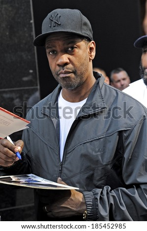 Actor Denzel Washington, leaves the 'Good Morning America' taping out and about for CELEBRITY CANDIDS - TUESDAY, , New York, NY June 1, 2010 - stock photo