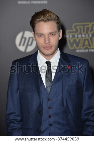 "Actor Dominic Sherwood at the world premiere of ""Star Wars: The Force Awakens"" on Hollywood Boulevard.
