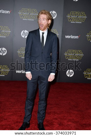 "Actor Domnhall Gleeson at the world premiere of ""Star Wars: The Force Awakens"" on Hollywood Boulevard. December 14, 2015  Los Angeles, CA Picture: Paul Smith / Featureflash - stock photo"