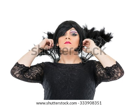 Actor Drag Queen Dressed as Woman Showing Emotions, on white background - stock photo