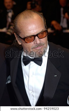 Actor JACK NICHOLSON at the Cannes Film Festival for the premiere of his new movie About Schmidt. 22MAY2002.   Paul Smith / Featureflash - stock photo
