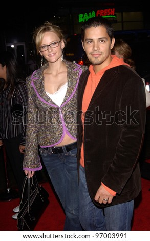 Actor JAY HERNANDEZ & actress DANIELLA DEUTCHER at the world premiere, in Hollywood, of his new movie Friday Night Lights. October 6, 2004