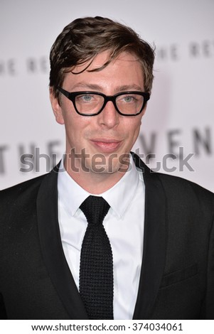 """Actor Joshua Burge at the Los Angeles premiere of his movie """"The Revenant"""" at the TCL Chinese Theatre, Hollywood.  December 16, 2015  Los Angeles, CA Picture: Paul Smith / Featureflash - stock photo"""