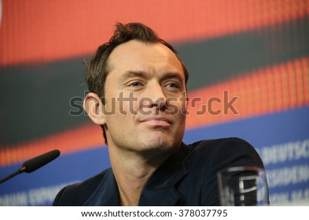 Actor Jude Law attends the 'Genius' press conference during the 66th Berlinale International Film Festival Berlin at Grand Hyatt Hotel on February 16, 2016 in Berlin, Germany. - stock photo