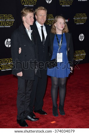 "Actor Kevin McKidd & children at the world premiere of ""Star Wars: The Force Awakens"" on Hollywood Boulevard. December 14, 2015  Los Angeles, CA Picture: Paul Smith / Featureflash - stock photo"