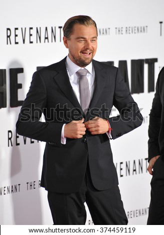 "Actor Leonardo DiCaprio at the Los Angeles premiere of his movie ""The Revenant"" at the TCL Chinese Theatre, Hollywood. 