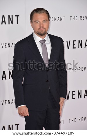 "Actor Leonardo DiCaprio at the Los Angeles premiere of his movie ""The Revenant"" at the TCL Chinese Theatre, Hollywood.  December 16, 2015  Los Angeles, CA Picture: Paul Smith / Featureflash - stock photo"