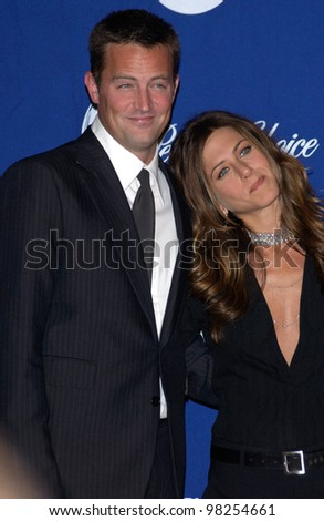 Actor MATTHEW PERRY with actress JENNIFER ANISTON at the 29th Annual People's Choice Awards in Pasadena. 12JAN2003.   Paul Smith / Featureflash - stock photo