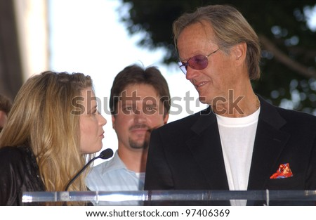 Actor PETER FONDA with daughter actress BRIDGET FONDA on Hollywood Blvd where he was honored with the 2,241st star on the Hollywood Walk of Fame. Oct 22, 2003  Paul Smith / Featureflash