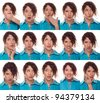 actor's face, a compilation of emotions - stock photo