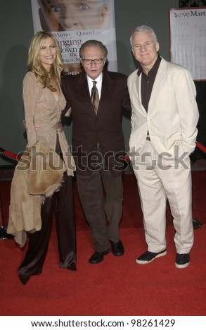 Actor STEVE MARTIN with CNN talk show host LARRY KING & wife at the Hollywood premiere of his new movie Bringing Down The House. 02MAR2003.   Paul Smith / Featureflash - stock photo