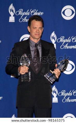 Actor TOM HANKS at the 28th Annual People's Choice Awards in Pasadena. 13JAN2002.  Paul Smith/Featureflash - stock photo