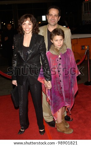 Actor TONY SHALHOUB & wife actress BROOKE ADAMS & daughter at the world premiere in Hollywood of his new movie Against the Ropes. February 11, 2004