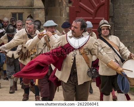 Actors wearing Stuart era,17thcentury,(reign of king Charles 1st) costumes. they are reenacting the siege of Bolsover Castle, in Derbyshire, UK, an event during the English Civil War.taken  05/05/2014