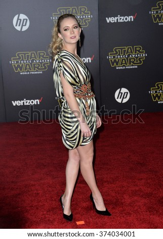 "Actress Billie Lourd, daughter of Carrie Fisher, at the world premiere of ""Star Wars: The Force Awakens"" on Hollywood Boulevard. December 14, 2015  Los Angeles, CA Picture: Paul Smith / Featureflash - stock photo"