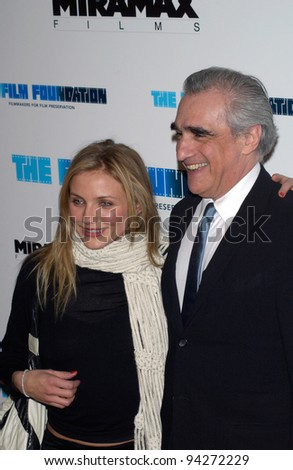 Actress CAMERON DIAZ & director MARTIN SCORSESE at the Los Angeles premiere of their new movie Gangs of New York. 17DEC2002.    Paul Smith/Featureflash - stock photo