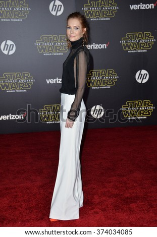 "Actress Darby Stanchfield at the world premiere of ""Star Wars: The Force Awakens"" on Hollywood Boulevard. December 14, 2015  Los Angeles, CA Picture: Paul Smith / Featureflash - stock photo"