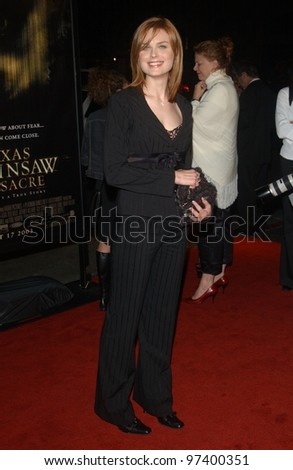 Actress EMILY DESCHANEL at the world premiere, in Hollywood, of The Texas Chainsaw Massacre. Oct 15, 2003  Paul Smith / Featureflash