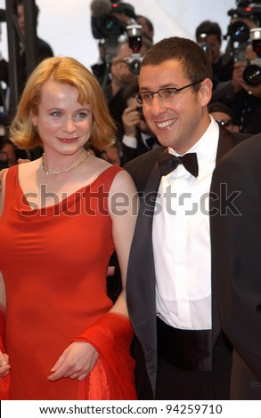 Actress EMILY WATSON with actor ADAM SANDLER at the premiere of their new movie Punch-Drunk Love which is in competition at the Cannes Film Festival. 19MAY2002.   Paul Smith / Featureflash - stock photo