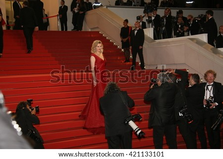 Actress Geena Davis attends 'The Nice Guys' premiere during the 69th annual Cannes Film Festival at the Palais des Festivals on May 15, 2016 in Cannes, France. - stock photo