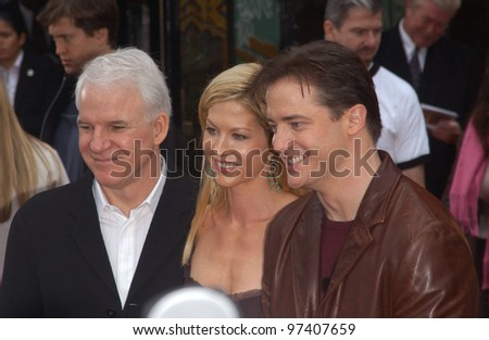 Actress JENNA ELFMAN with actors STEVE MARTIN (left) & BRENDAN FRASER at the world premiere, in Hollywood, of their new movie Looney Tunes Back in Action. November 9, 2003  Paul Smith / Featureflash - stock photo