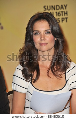 Actress Katie Holmes at the nominations announcement for the 2011 Golden Globe Awards at the Beverly Hilton Hotel. December 14, 2010  Beverly Hills, CA Picture: Paul Smith / Featureflash - stock photo