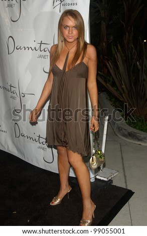 Actress LINDSAY LOHAN at A Night with Janet Damita Jo Jackson - a party to celebrate the career achievements of Janet Jackson - at Mortons Restaurant, West Hollywood, CA. March 20, 2004 - stock photo