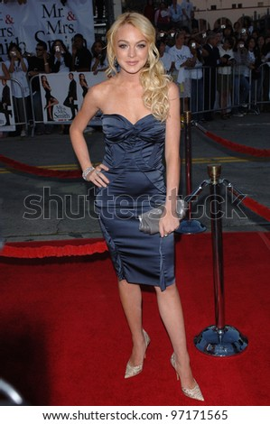 Actress LINDSAY LOHAN at the world premiere of Mr & Mrs Smith. June 7, 2005 Los Angeles, CA.  2005 Paul Smith / Featureflash - stock photo