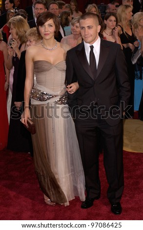 Actress MAGGIE GYLLENHAAL & actor JAKE GYLLENHAAL at the 77th Annual Academy Awards at the Kodak Theatre, Hollywood, CA February 27, 2005; Los Angeles, CA.  Paul Smith / Featureflash - stock photo