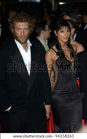 Actress MONICA BELLUCCI & actor husband VINCENT CASSEL at the Cannes Film Festival for the world premiere of their movie Irreversible. 24MAY2002.   Paul Smith / Featureflash - stock photo