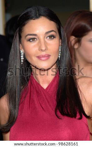 Actress MONICA BELLUCCI at the 2001 Golden Globe Awards at the Beverly Hilton Hotel. 21JAN2001.   Paul Smith/Featureflash - stock photo