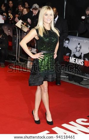 "actress, Reece Witherspoon arriving for the premiere of ""This Means War"" at the Odeon Kensington. jan 30, 2012"