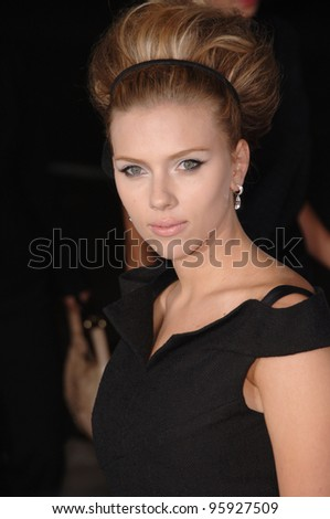 "Actress SCARLETT JOHANSSON at the Los Angeles premiere of her movie ""The Black Dahlia"". September 6, 2006  Los Angeles, CA  2006 Paul Smith / Featureflash - stock photo"