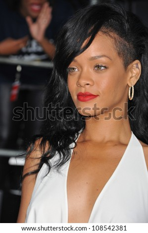Actress/singer Rihanna arrives at the premiere of Universal Pictures' 'Battleship' at Nokia Theatre L.A. Live. - stock photo