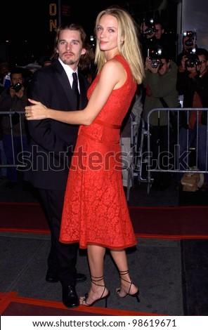 Actress UMA THURMAN & actor husband ETHAN HAWKE at AmFARs 3rd annual Seasons of Hope Awards in New York. 29SEP2000.   Terry Lester / Featureflash - stock photo