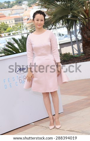 Actress Zhao Tao attends the 'Shan He Gu Ren' ('Mountains May Depart') Photocall during the 68th annual Cannes Film Festival on May 20, 2015 in Cannes, France. - stock photo