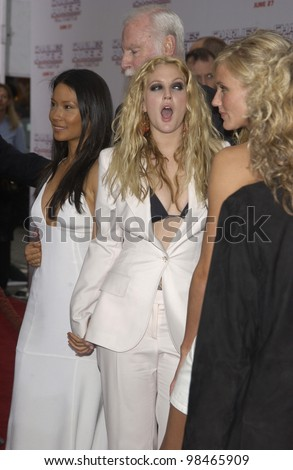 Actresses LUCY LIU (left), DREW BARRYMORE & CAMERON DIAZ at the Hollywood premiere of their new movie Charlie's Angels: Full Throttle. June 18, 2003  Paul Smith / Featureflash - stock photo