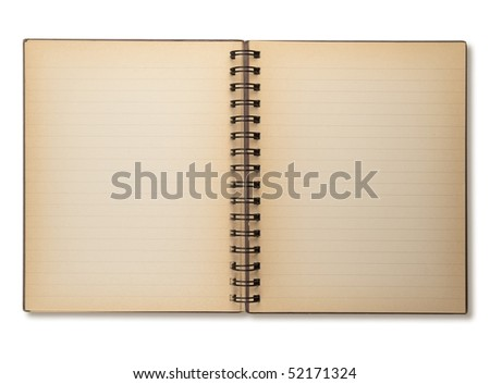 Actual photo of an old note book opened, isolated on white. - stock photo