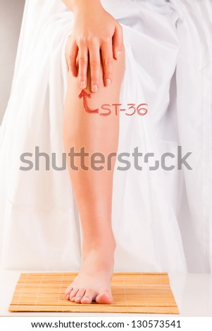 Acupressure, acupuncture. Finger on point called ST36 Leg Three Miles ZUSANLI. Presentation on how to find this point. - stock photo
