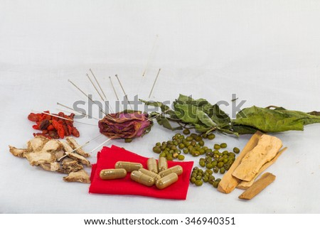Acupuncture and chinese medicine  with dry rose in concept healing wrinkle or acupuncture for beauty - stock photo