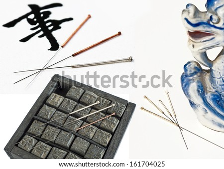 Acupuncture needle - stock photo