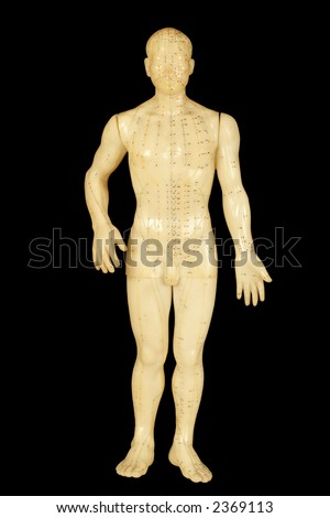 acupuncture points on body front isolated on black background - stock photo
