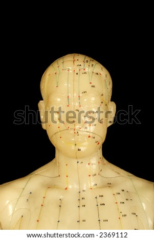 acupuncture points on head isolated on black background - stock photo